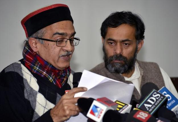 Prashant Bhushan & Yogendra Yadav releasing the audio tapes in Delhi
